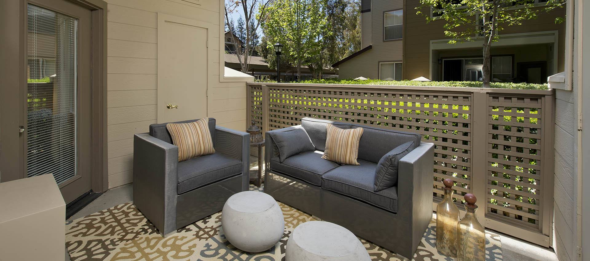 Outdoor Seating On Back Porch at Rosewalk at San Jose