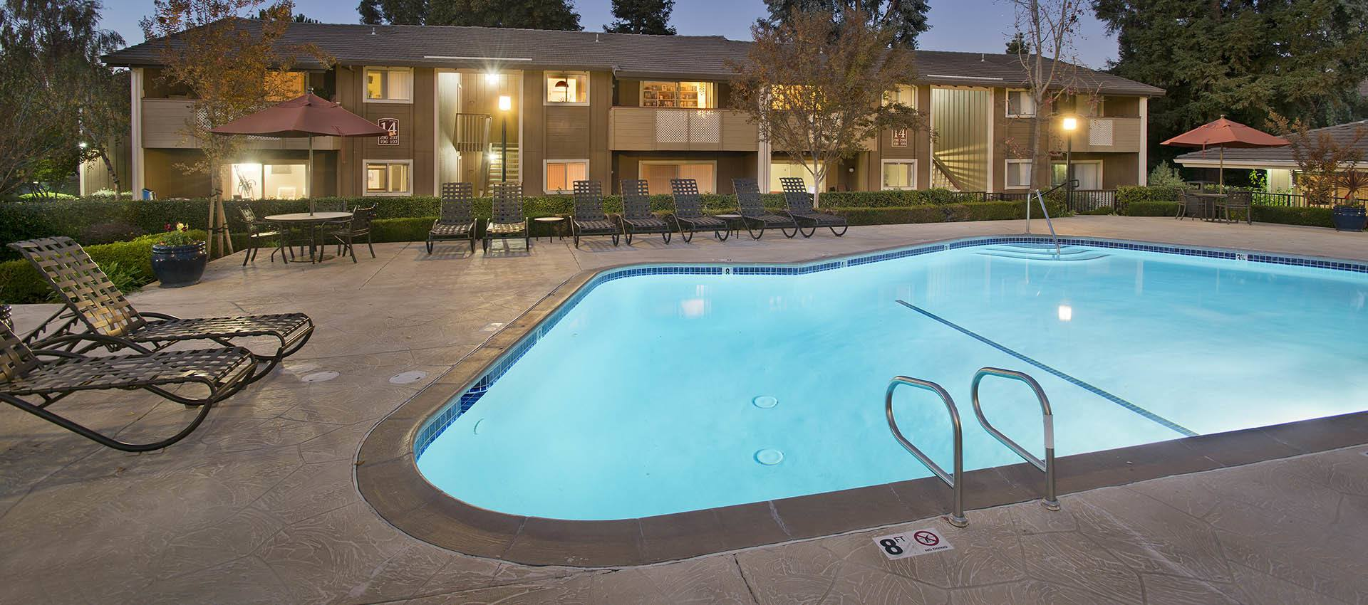Expansive Pool Deck at Shadow Oaks Apartment Homes in Cupertino