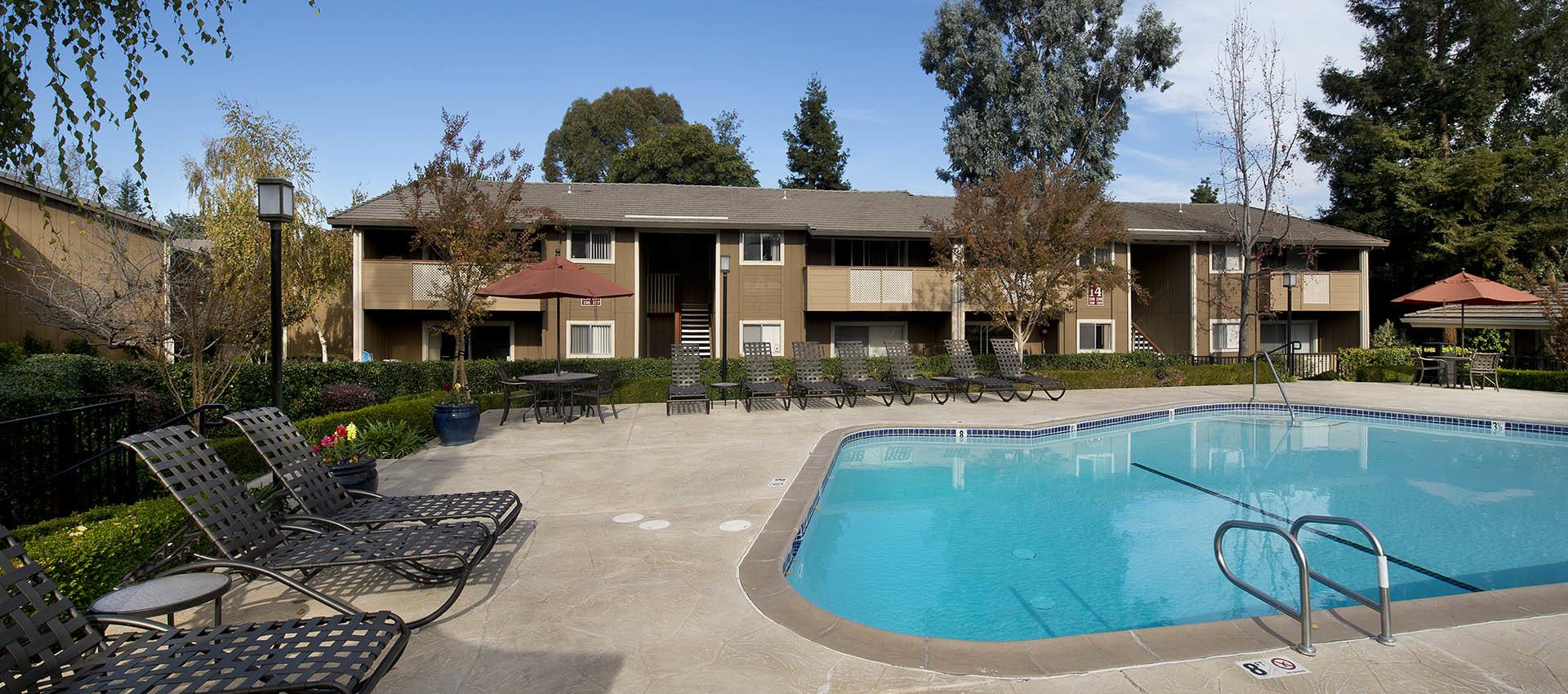 Expansive Pool Deck with WiFi at Shadow Oaks Apartment Homes in Cupertino