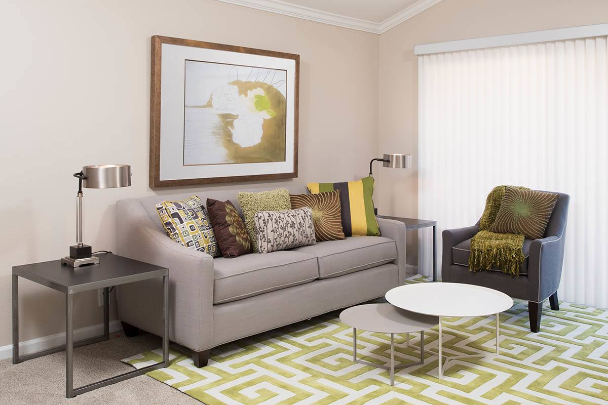 Standard living room layout at apartments in Simi Valley