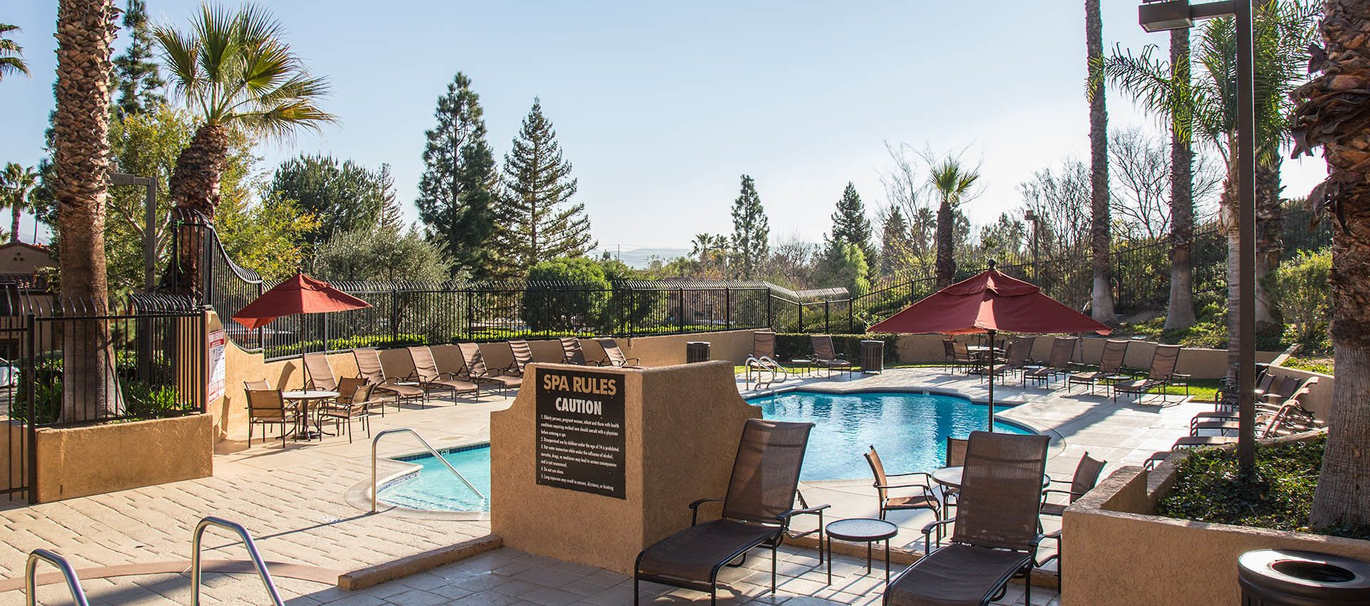Pool and spa at apartments in Simi Valley, CA