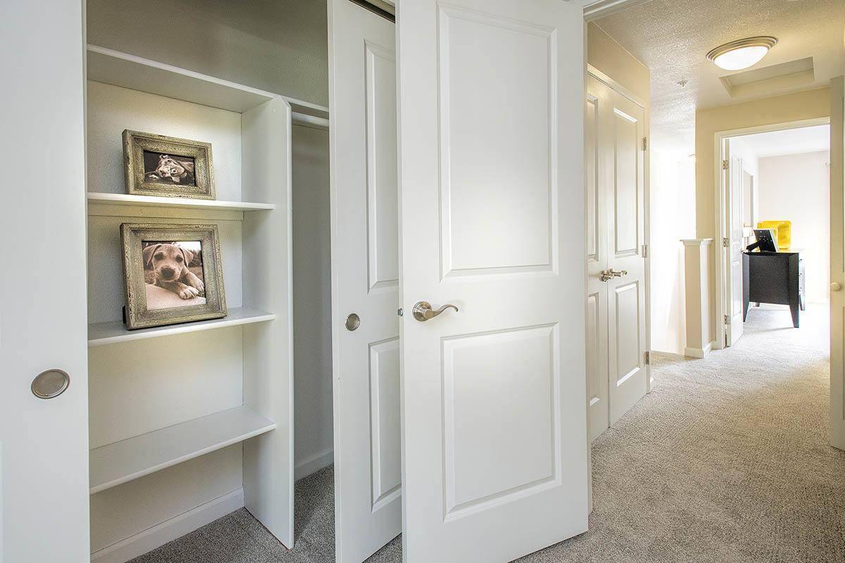 Hallway storage layout at apartments in Vancouver, WA