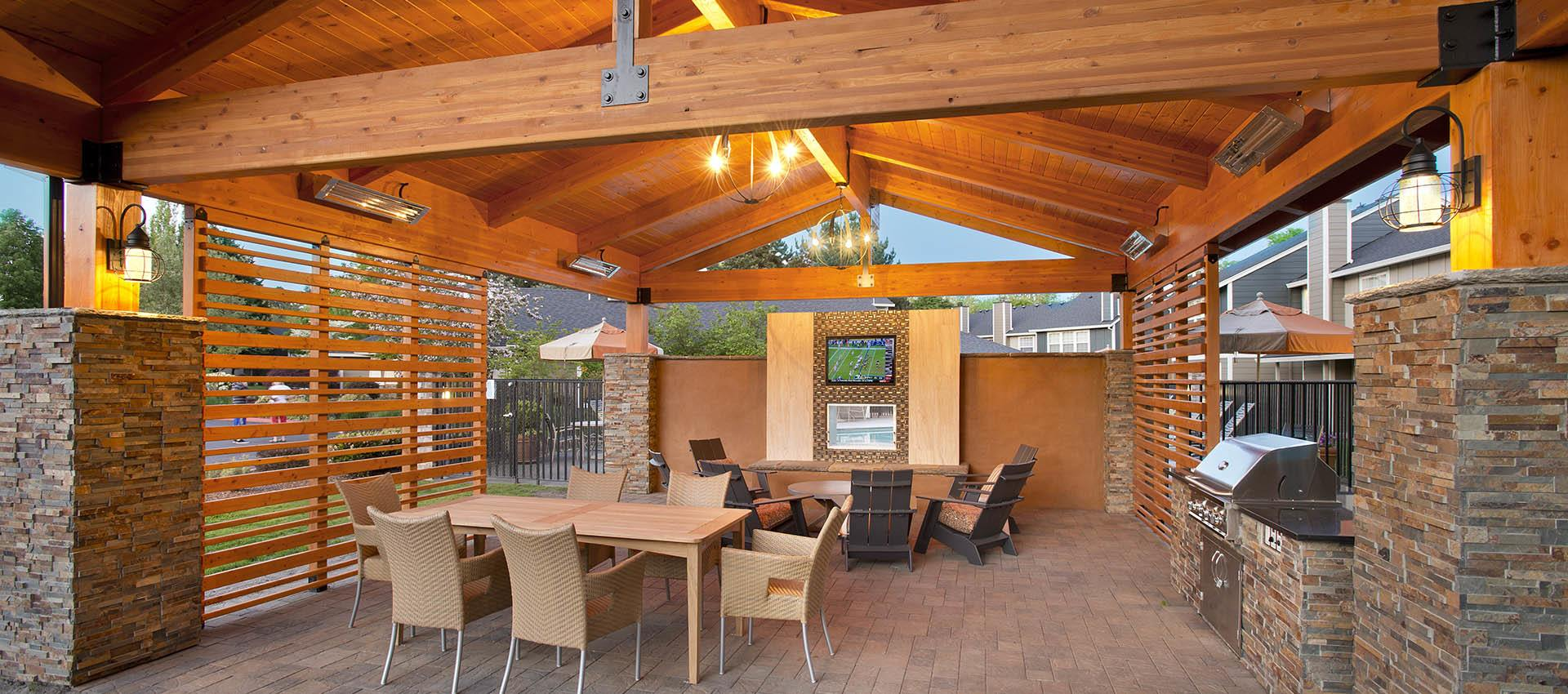 Outdoor lounge at apartments in Vancouver, WA