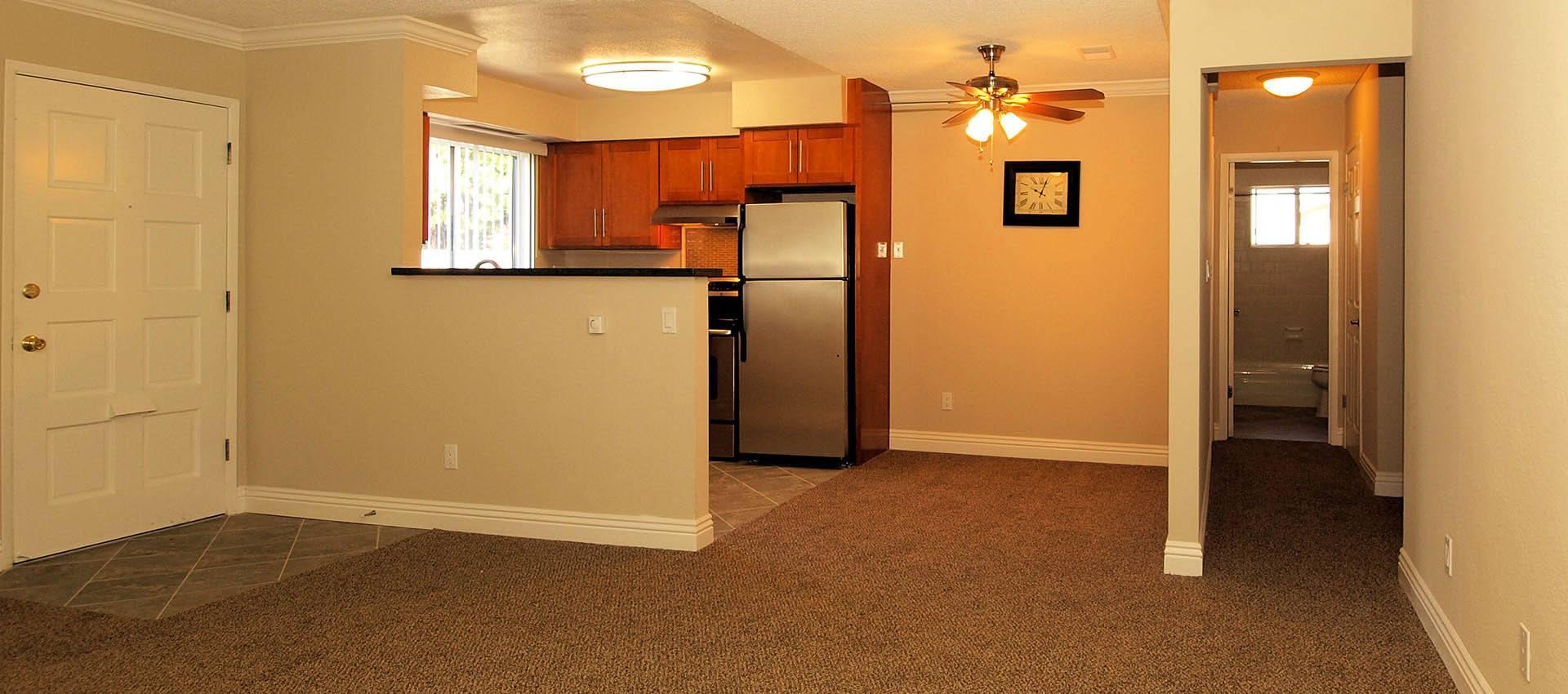 Living room and kitchen at Spring Lake Apartment Homes in Santa Rosa, CA