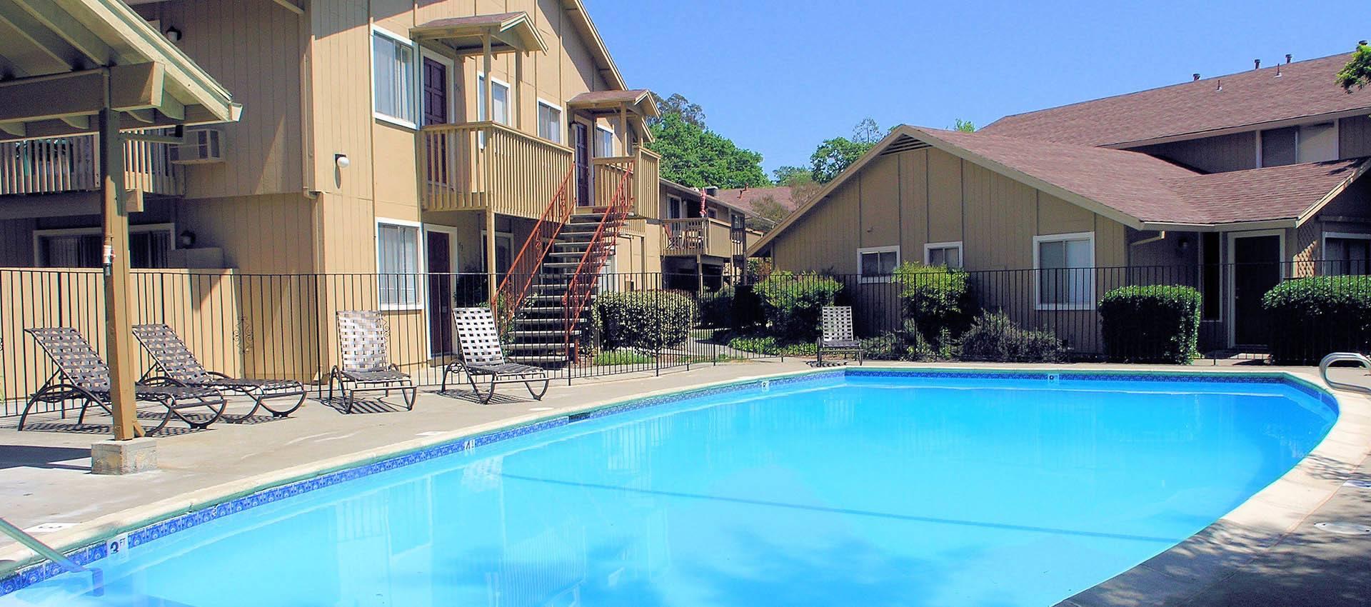 Outdoor pool at apartments in Santa Rosa, CA