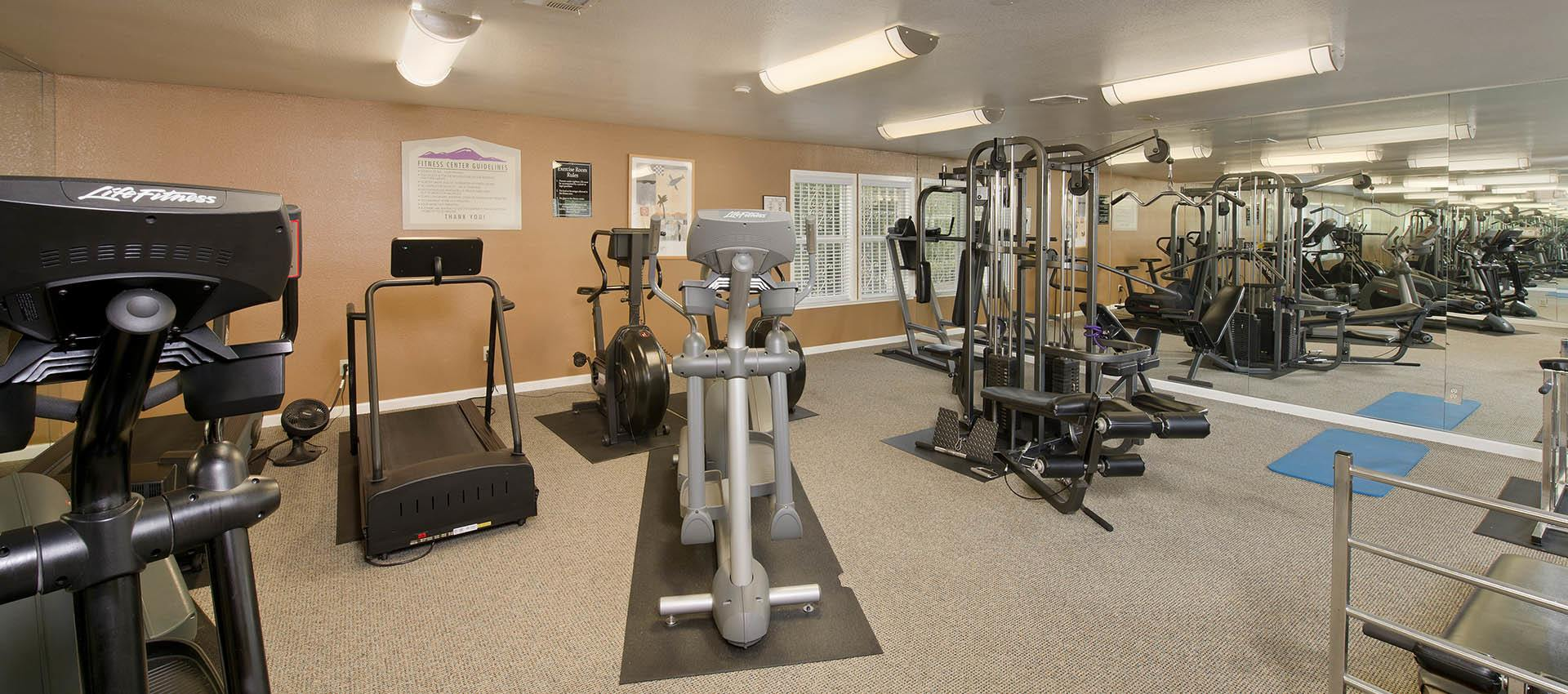 Well equipped fitness center at Sterling Heights Apartment Homes in Benicia