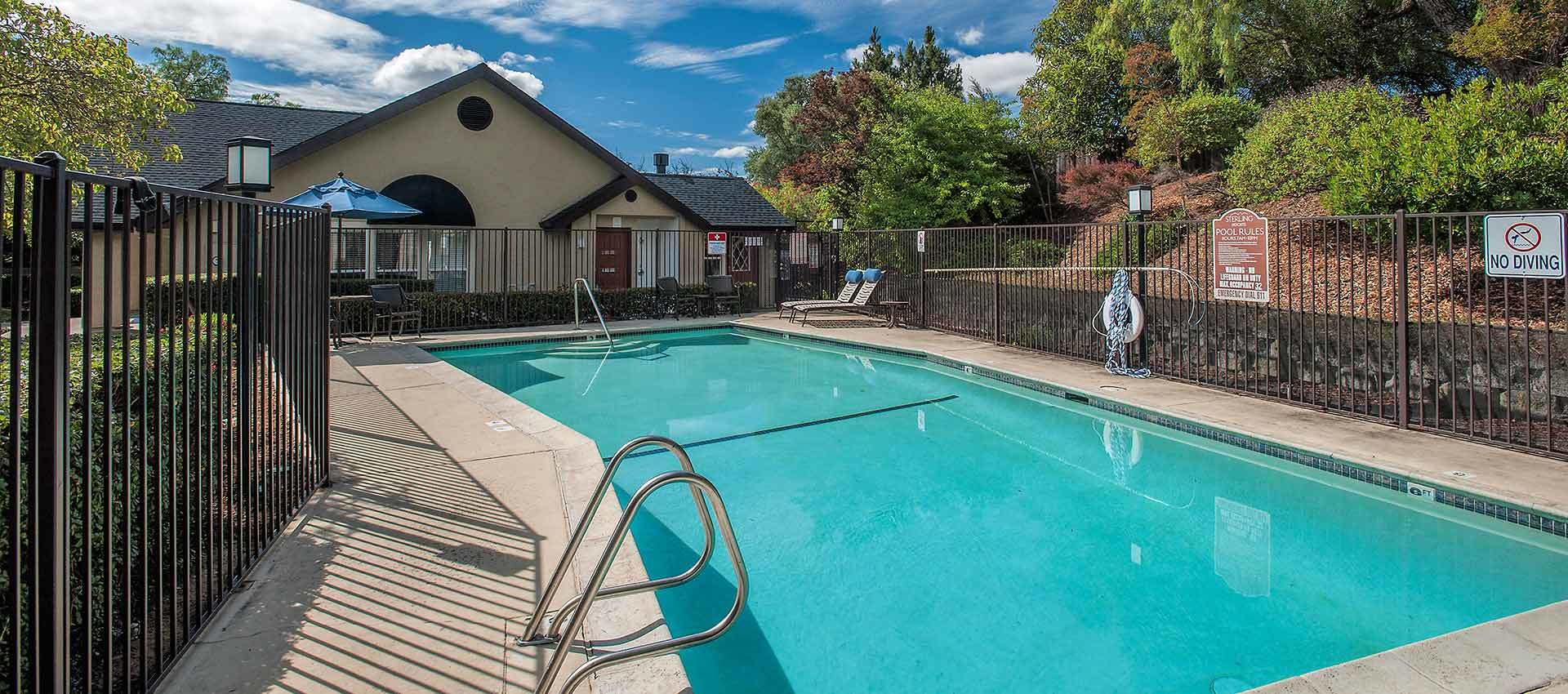 Pool And Resident Clubhouse at Sterling Heights Apartment Homes in Benicia