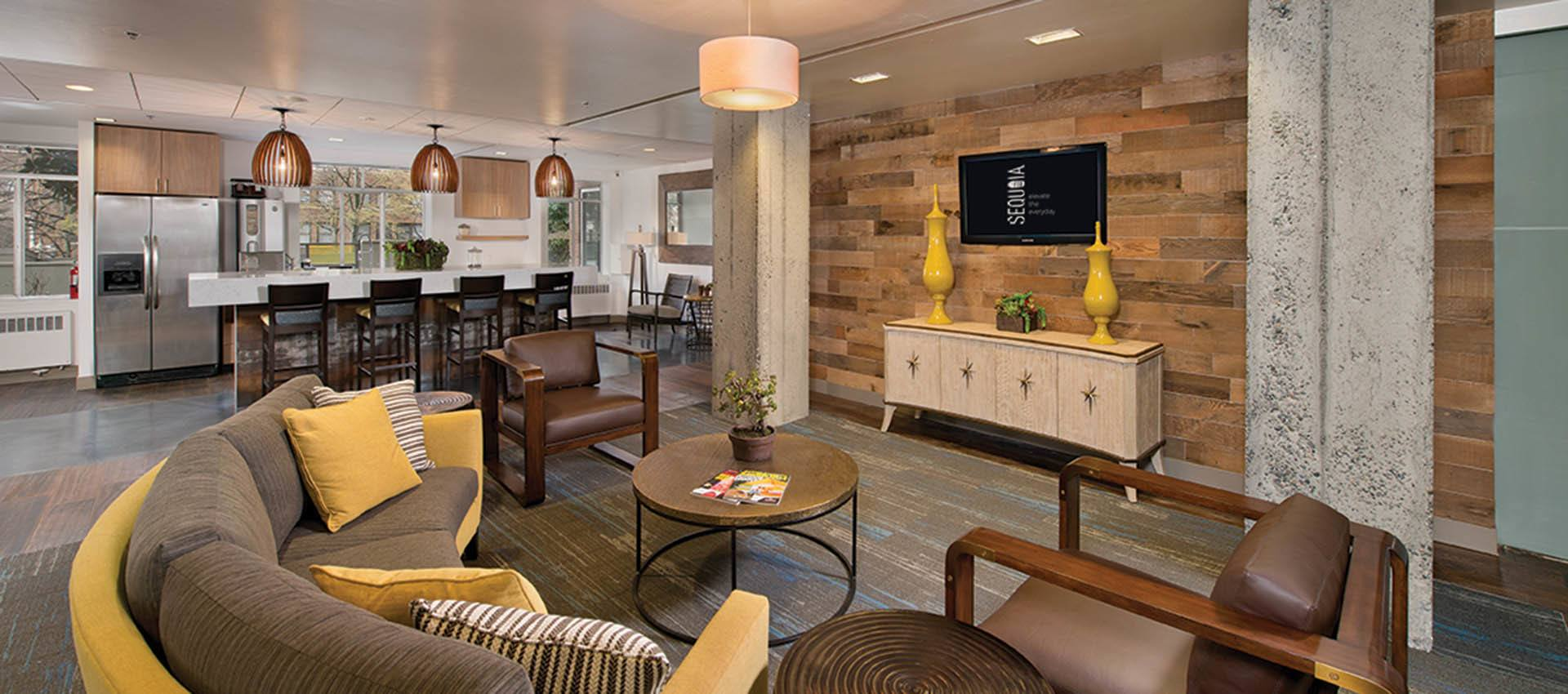 Lobby with Flat screen TV on the wall at The Mill at First Hill in Seattle , WA