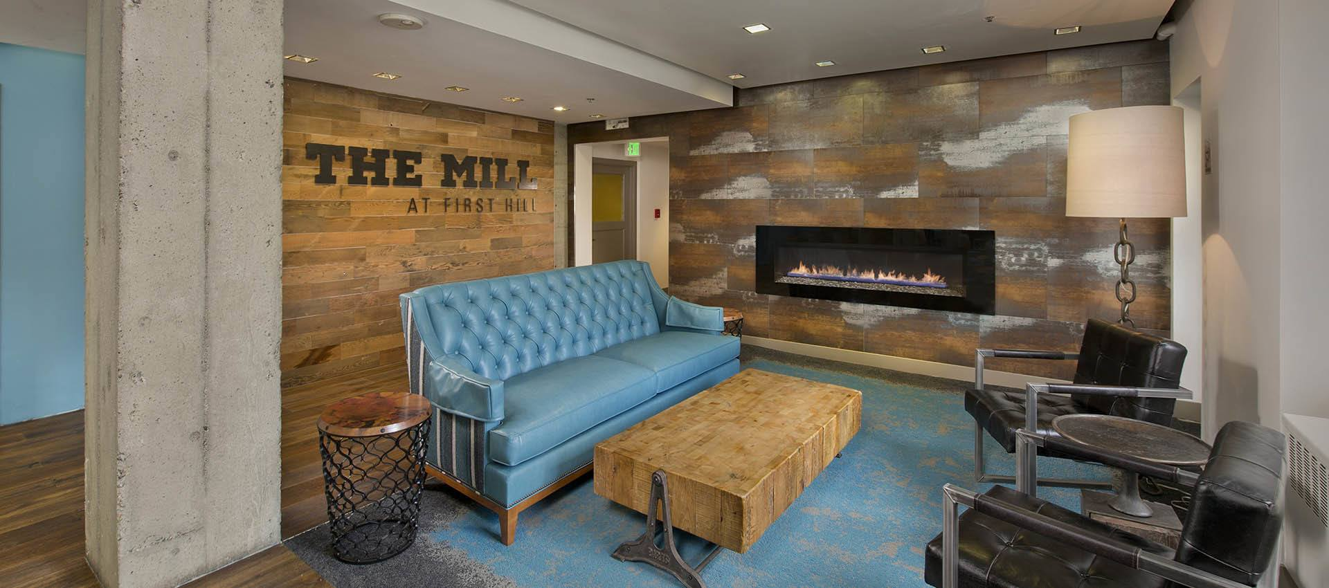lobby with seating at The Mill at First Hill in Seattle , WA