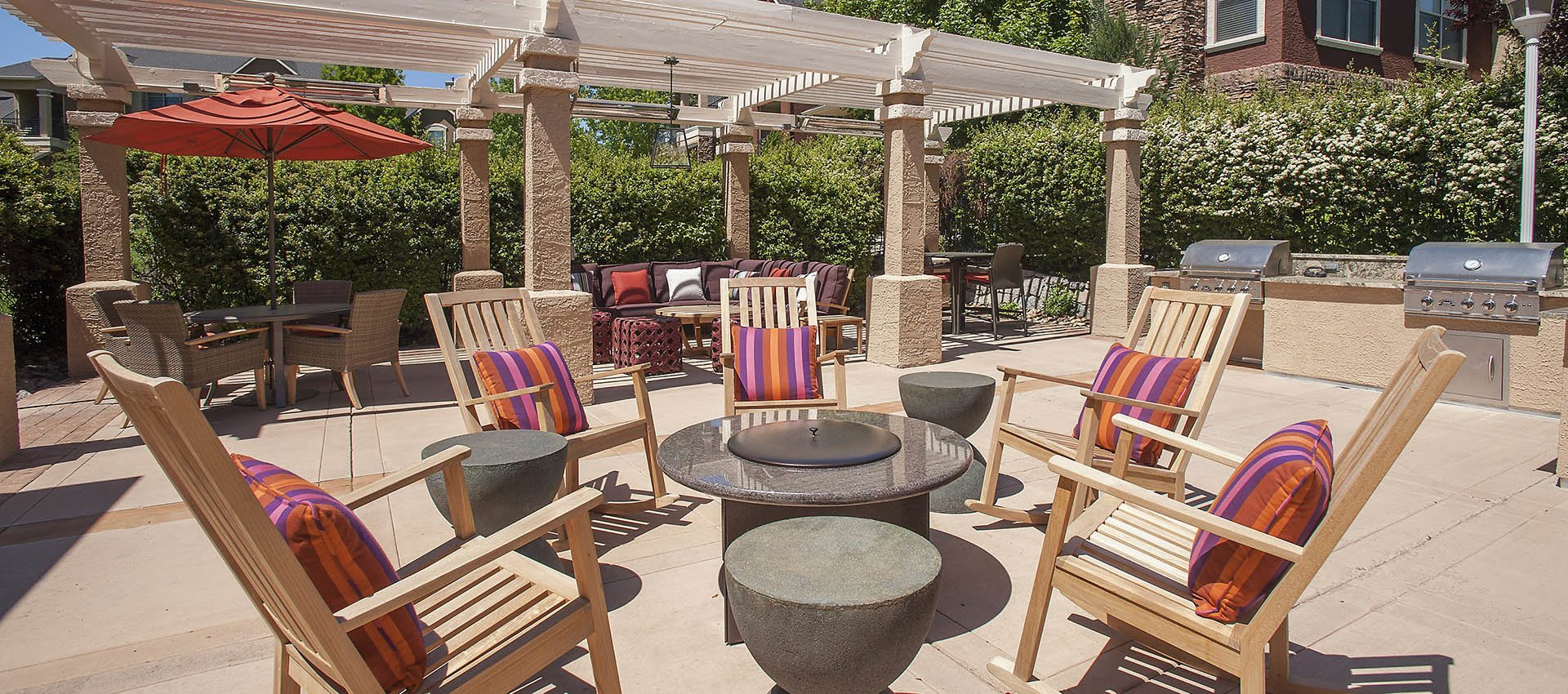 outdoor fire pit at The Vintage at South Meadows Condominium Rentals in Reno