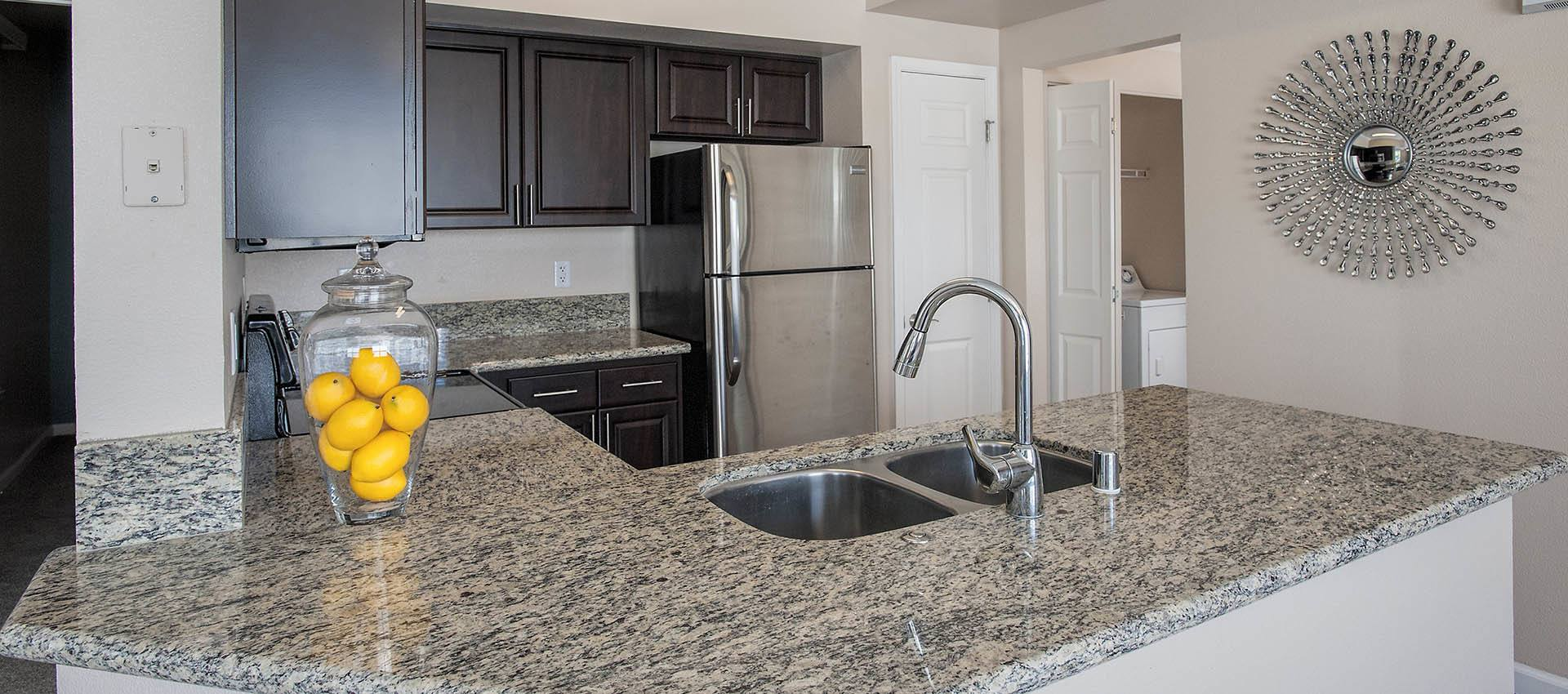 luxury kitchen at The Vintage at South Meadows Condominium Rentals in Reno