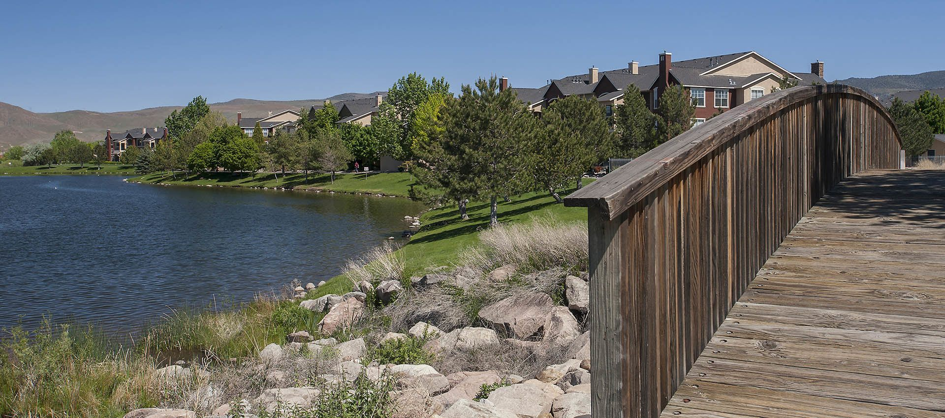 Private Lake with Bass Fishing at The Vintage at South Meadows Condominium Rentals in Reno