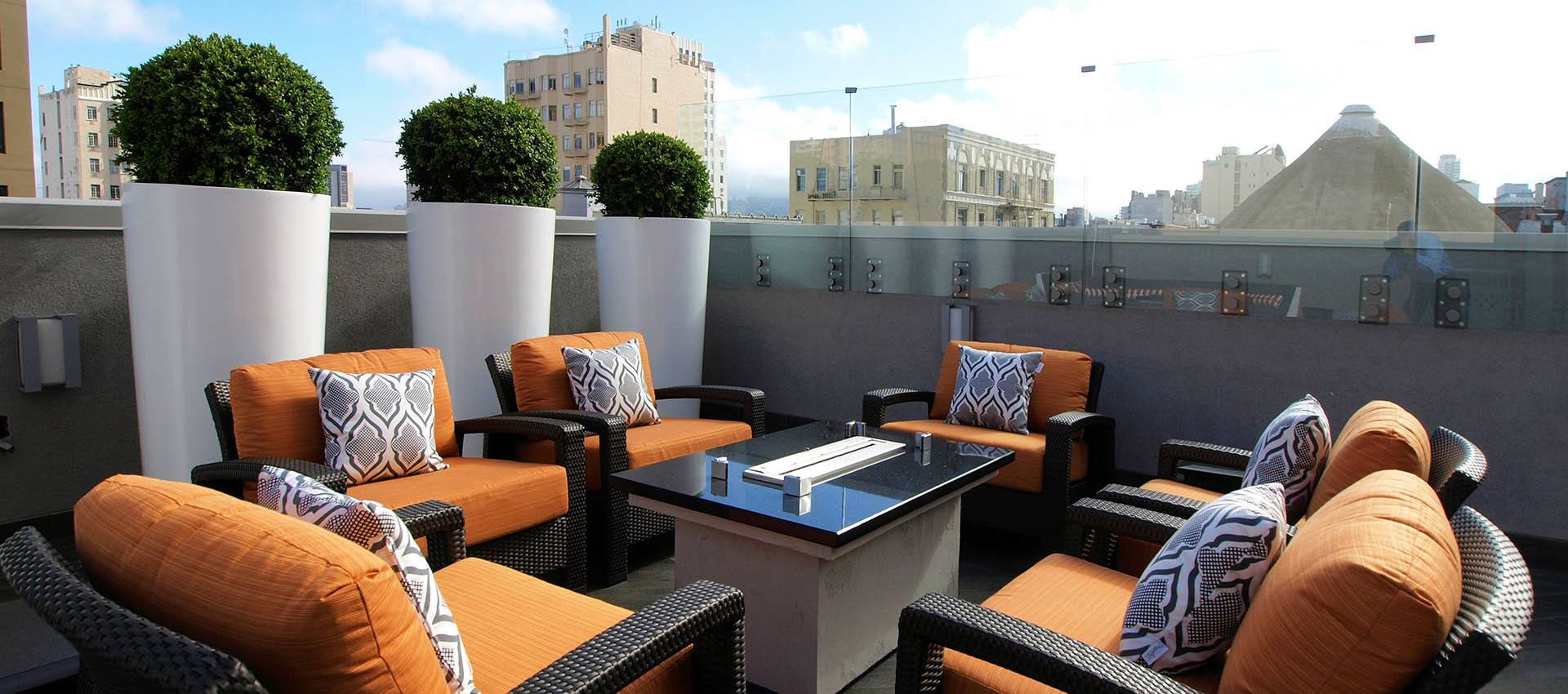 Rooftop Seating With Fire pit at Tower 737 Condominium Rentals in San Francisco