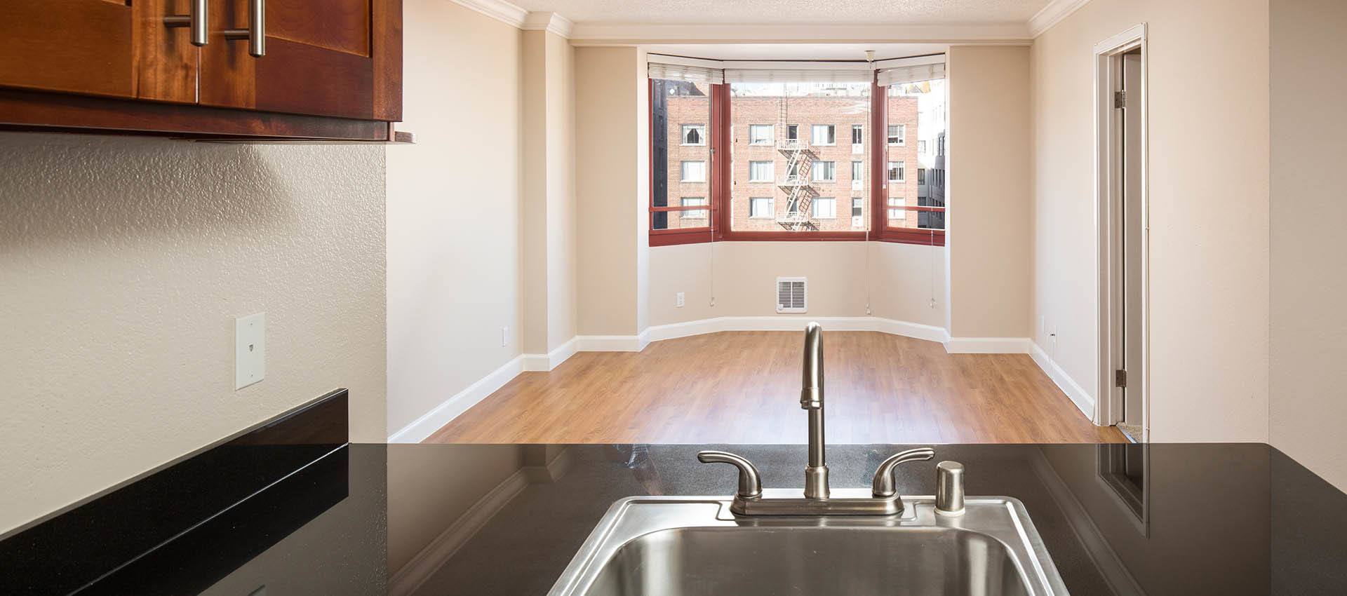 View From Kitchen With Stainless Steel Sink at Tower 737 Condominium Rentals in San Francisco