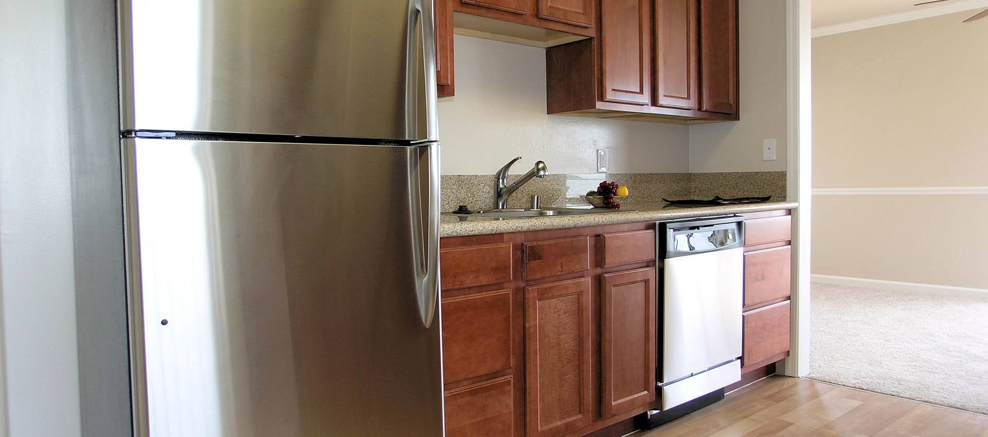 Stainless steel appliances at apartments in Alameda, CA