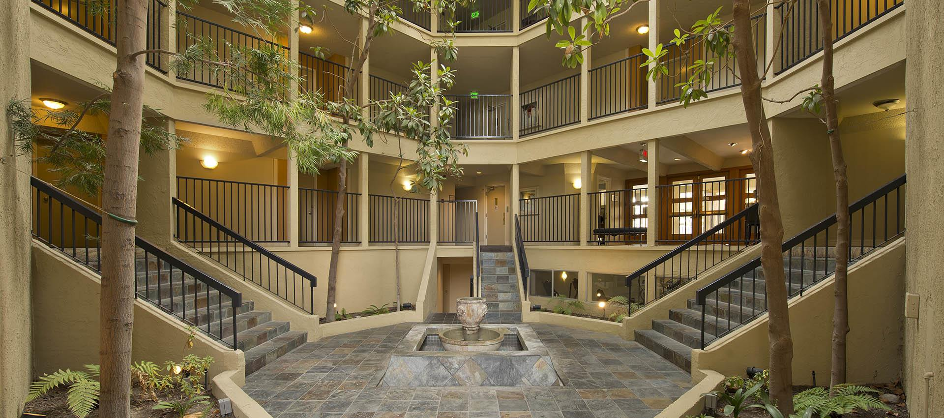 Interior atrium at Atrium Downtown in Walnut Creek, California