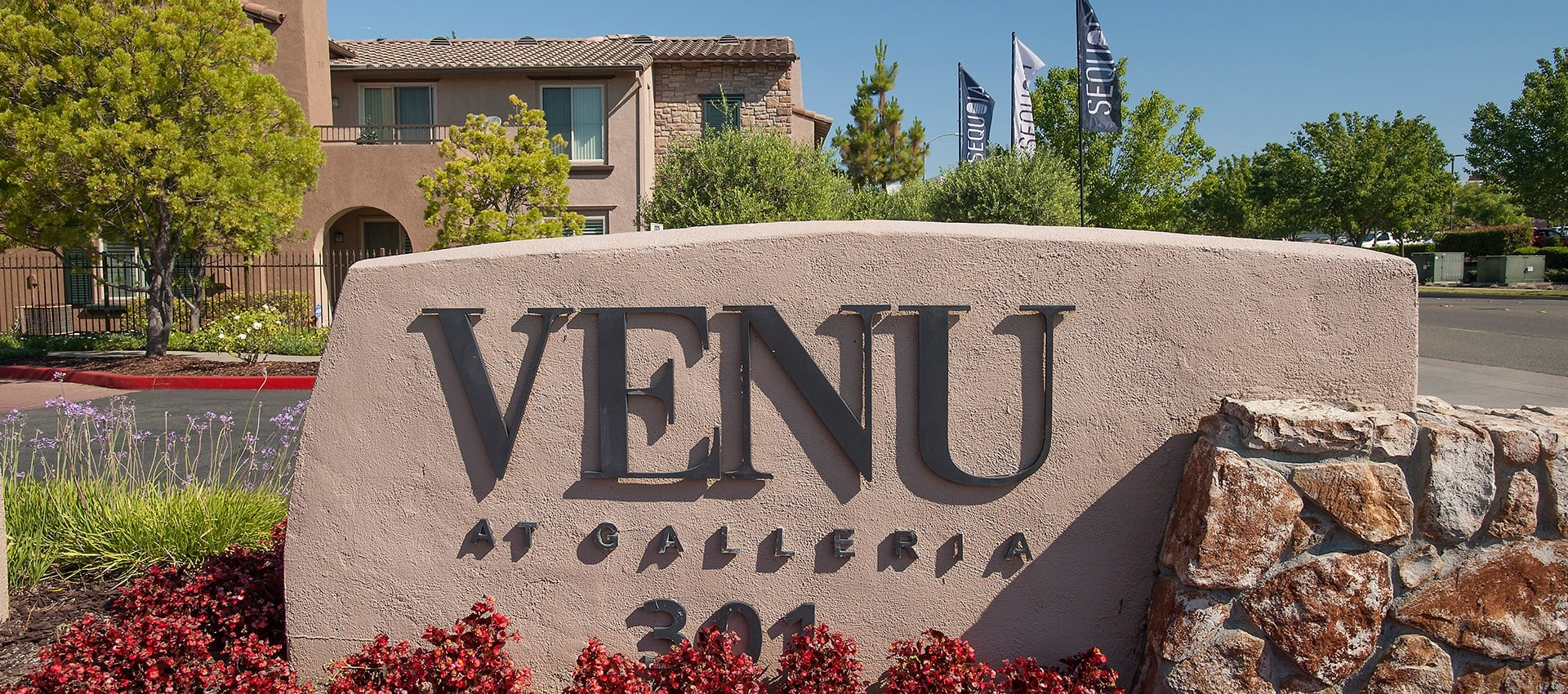 Sign at Venu at Galleria Condominium Rentals in Roseville, California