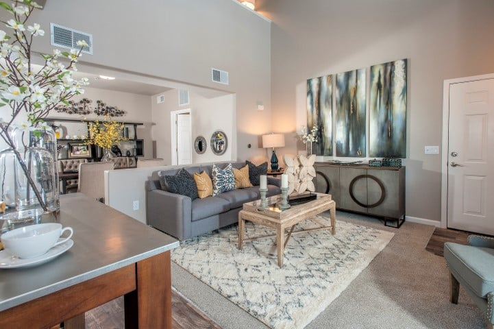 Living Room at Venu at Galleria Condominium Rentals in Roseville