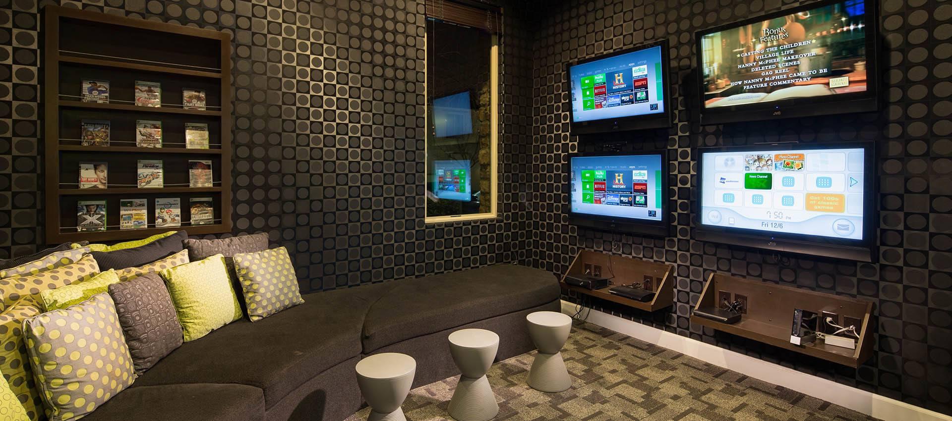 Gaming Room at Venu at Galleria Condominium Rentals in Roseville , CA