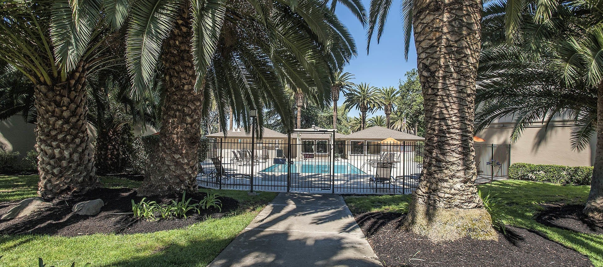 The grounds at Villa Palms Apartment Homes in Livermore, California