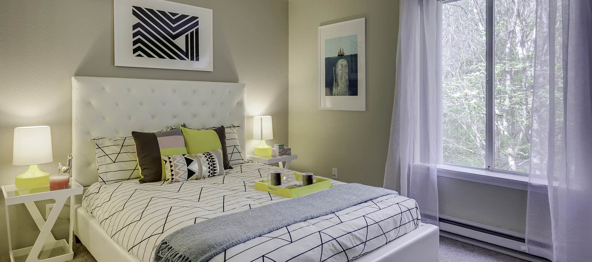 Bedroom With Modern Decorations at Waterhouse Place in Beaverton, OR