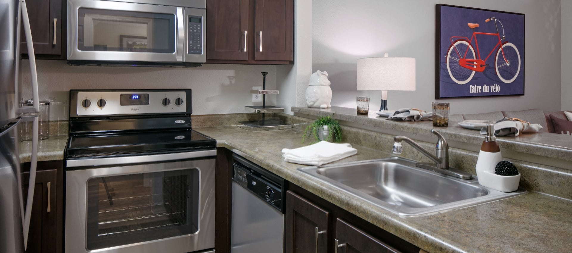 Standard Kitchen With Stainless Appliances at Waterhouse Place in Beaverton, OR