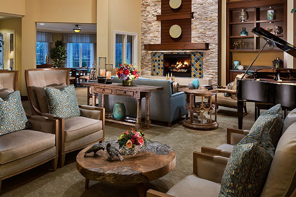 A view of the lobby in our senior living community in Bloomfield Hills