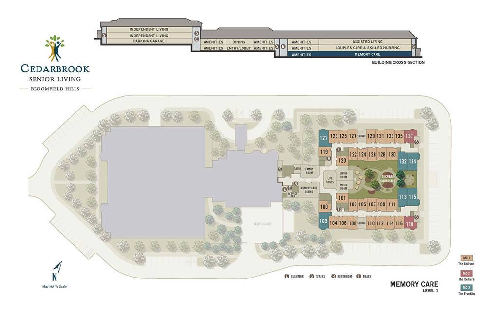 The first level of Cedarbrook of Bloomfield Hills