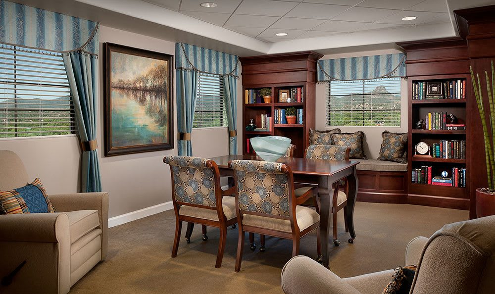 Luxurious decor in the distinguished lounge at our Prescott assisted living community
