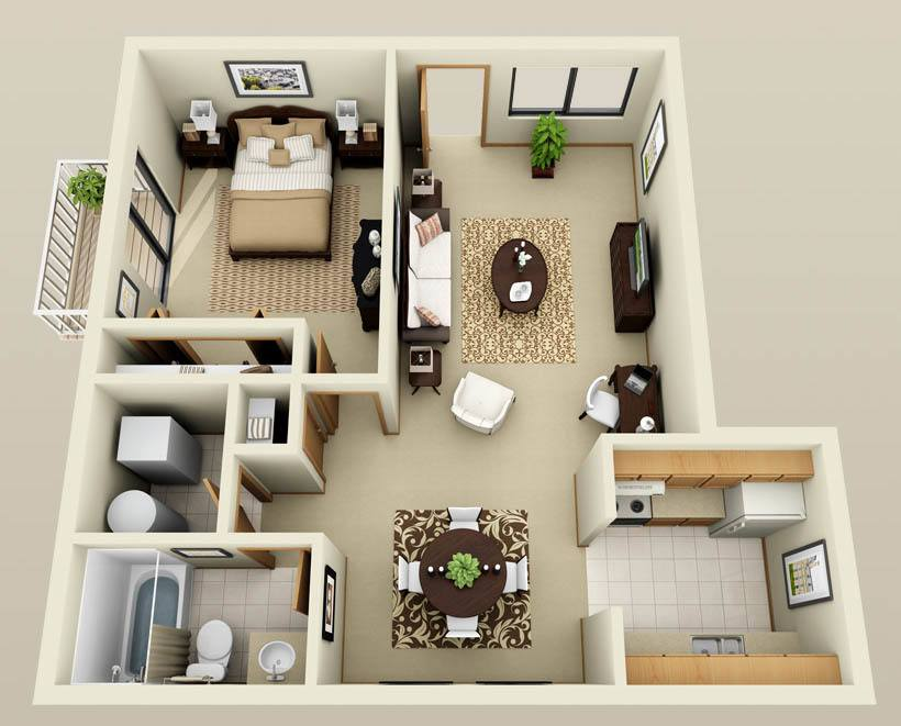 One bedroom one bathroom floorplan at Autumn Glen Apartments