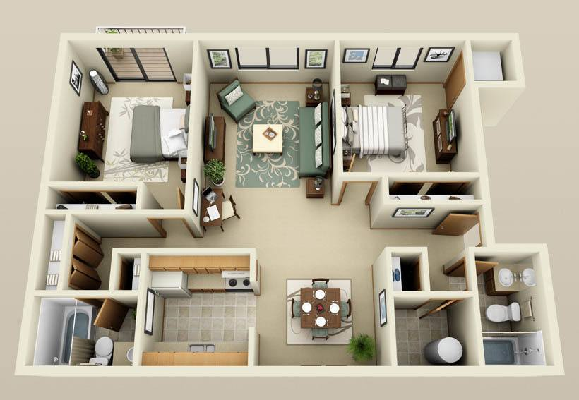 Two bedroom two bathroom floorplan at Autumn Glen Apartments