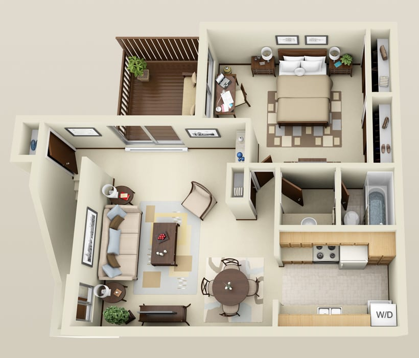 One bedroom floor plan at Briarwick Apartments