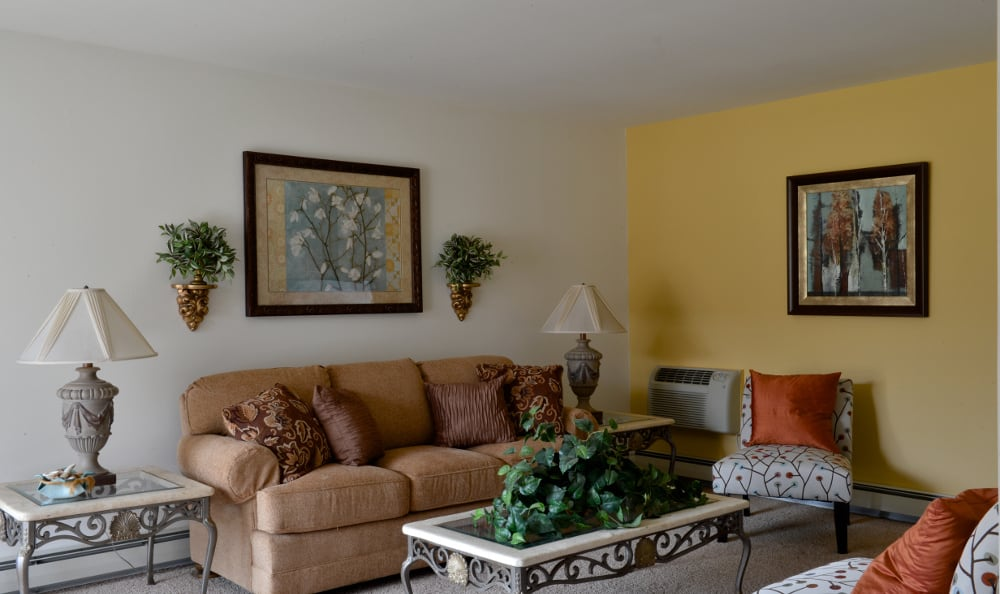 Model living room at Briarwick Apartments in Greenfield, WI