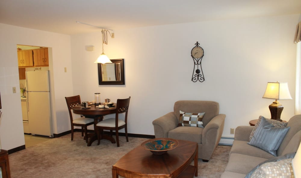 Spacious living rooms at Briarwick Apartments in Greenfield, WI