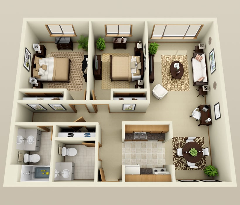 Bayou floor plan for French Quarter Apartments