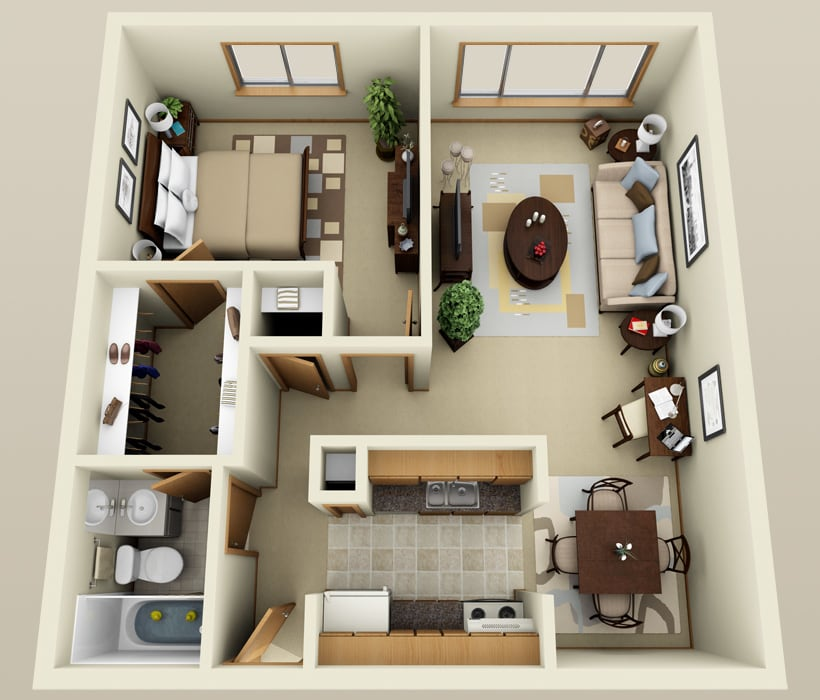 Royal floor plan at French Quarter Apartments