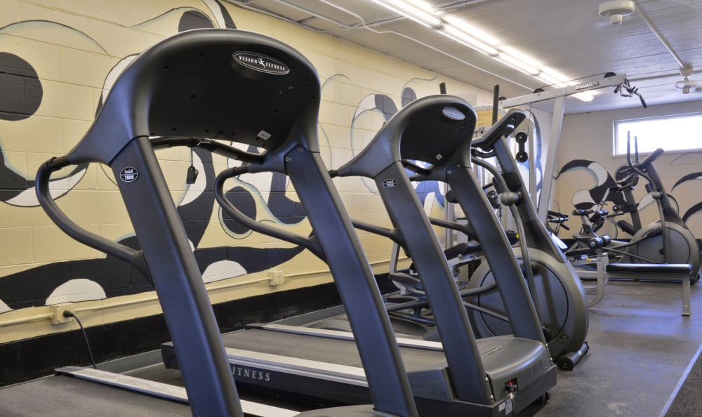Break a sweat at the fitness center at Piccadilly Apartments in Greenfield, WI
