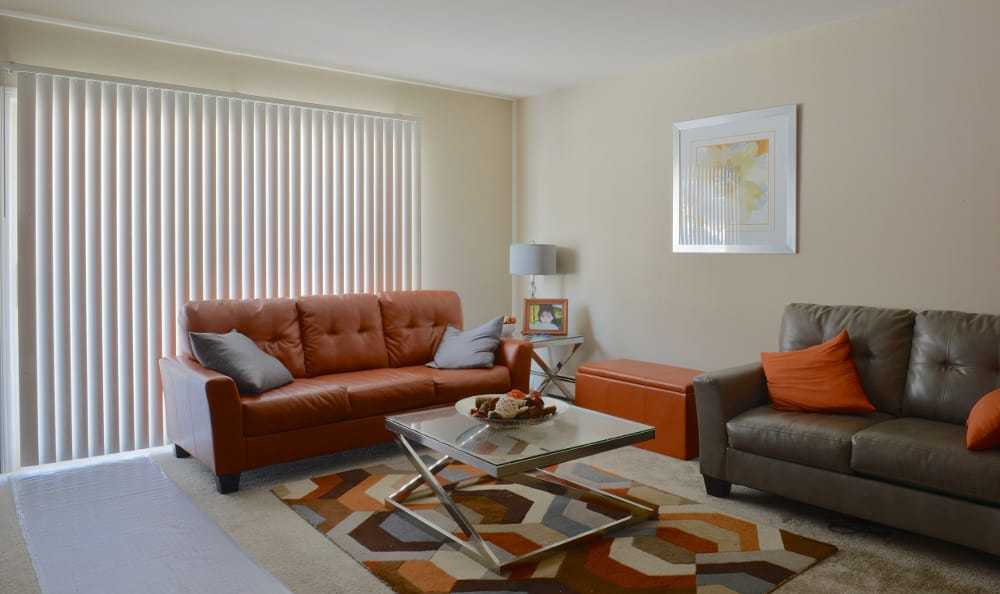 An example living room at the the apartments for rent at Piccadilly Apartments in Greenfield, WI