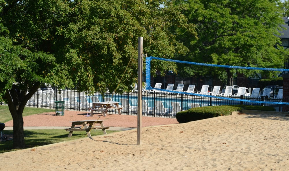 Enjoy some sun at the volleyball court at Piccadilly Apartments in Greenfield, WI