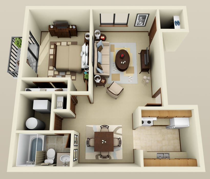 1 Bedroom floor plan at Ryan Green Apartments