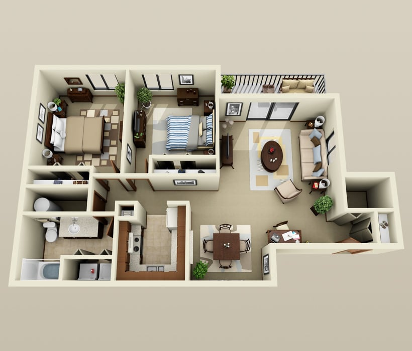 Oakwood floor plan at Parquelynn Village Apartments
