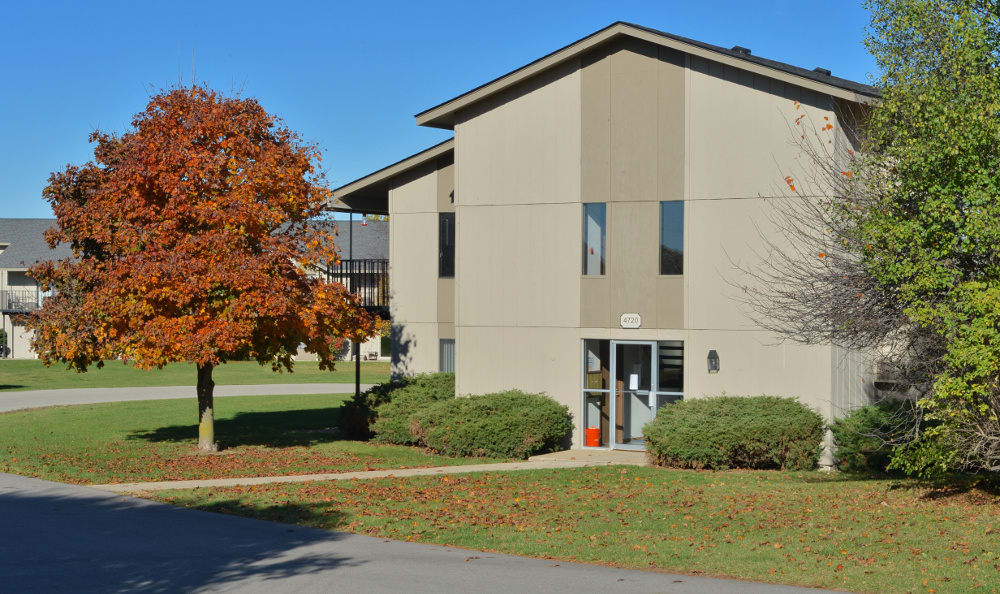 Another exterior view of the apartments for rent at Parquelynn Village Apartments in Nashotah, WI
