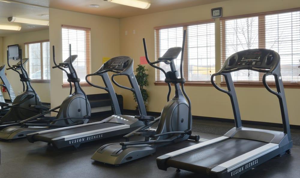 Break a sweat at the fitness facility at Parquelynn Village Apartments apartments