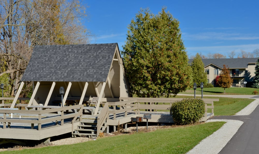 Enjoy the covered picnic area at Parquelynn Village Apartments in Nashotah, WI