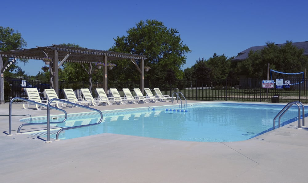 The apartments for rent in Nashotah, WI, features a resort-style pool