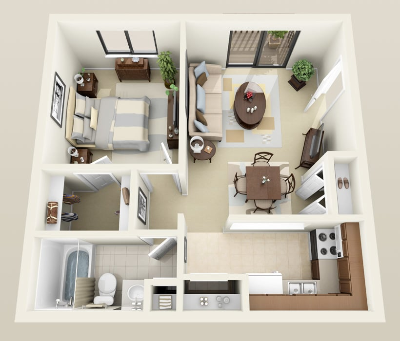 Salem floor plan at Heather Downs Apartments