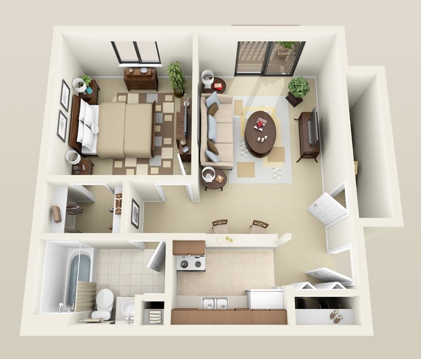 Sussex floor plan for Heather Downs Apartments