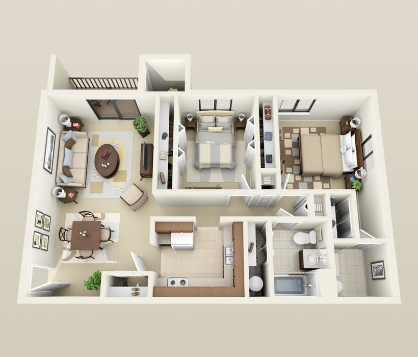 Large 2 Bedroom, 1.5 Bath floor plan for Heather Downs Apartments