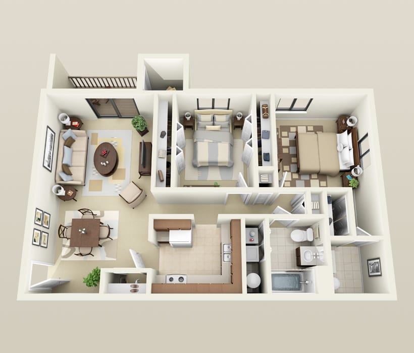 2 Bedroom, 1.5 bath floor plan for Heather Downs Apartments