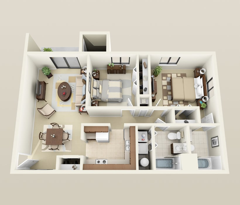 2 Bedroom, 2 Bath floor plan for Heather Downs Apartments